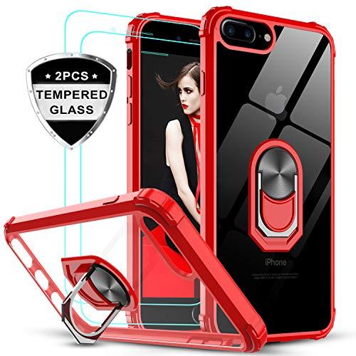 LeYi für iPhone 7 Plus/8 Plus/6 Plus/6S Plus Hülle mit Panzerglas Schutzfolie(2 Stück), Ringhalter Schutzhülle Acryl Cover Bumper Handy Hüllen für Case Apple iPhone 8/7/6/6S Plus Handyhülle Rot