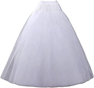 Aprildress A-line Hoopless Petticoat Crinoline Underskirt, White, Size One Size