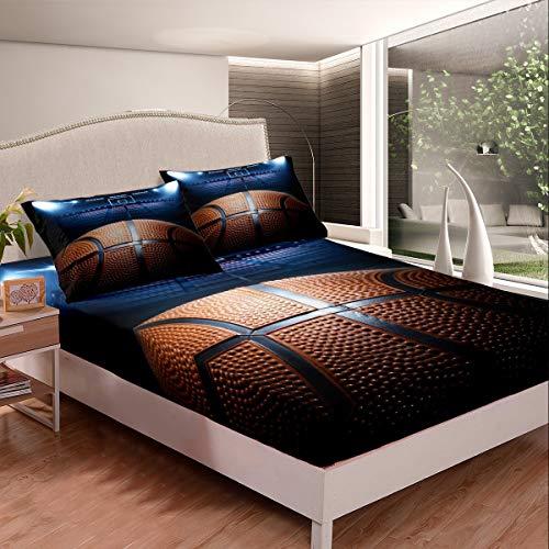 Juego de sábanas de baloncesto con diseño de pelota 3D para niños, adolescentes, juego competitivo, juego de cama, 3 piezas, tamaño doble