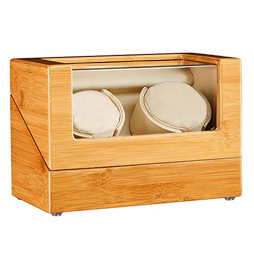 JQUEEN Watch Winder for Automatic Watch with Quiet Japanese Mabuchi Motor, Bamboo Wood Watch Box