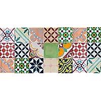 Alfombra VINILICA Estampada Vinilo DE PVC FÁCIL Limpieza Antideslizante Acolchada BALDOSA HIDRÁULICA Multicolor (50x80cm)