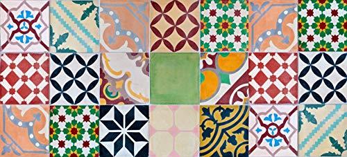 Alfombra VINILICA Estampada Vinilo DE PVC FÁCIL Limpieza Antideslizante Acolchada BALDOSA HIDRÁULICA Multicolor (55x190cm)