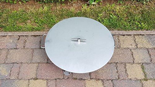 Czaja Stanzteile Deckel für alle Feuerschalen ; einfaches Ablöschen der Feuerschale ohne Wasser und zum Schutz vor Regen (Edelstahl, Ø 60 cm)