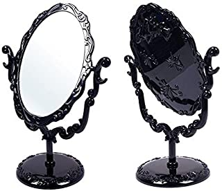 Niome Black Butterfly Desktop Mirror Rotatable Gothic Small Size Rose Makeup Stand