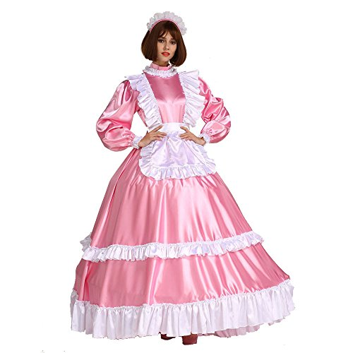 GOceBaby Sissi Zofen Abschließbar Satén Lange Rosa Kleid Kostüm Transvestit Krause Stil (XXXL)