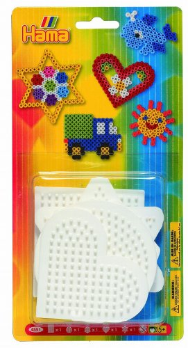 Hama 4551 - Blisterpackung kleine Stiftplatten, Viereck, Rund, Sechseck, Herz, Stern, 5 Stück
