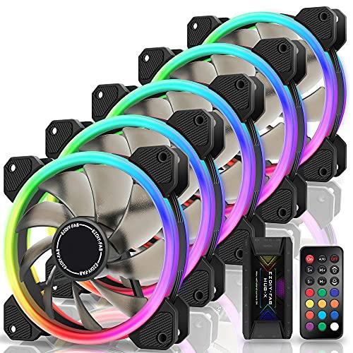 EZDIY-FAB RGB Dual Ring 120mm Case Fans,5V Motherboard Sync,Speed Adjustable,RGB Sync Fan with 10-Port Fan Hub X and Remote-5 Pack