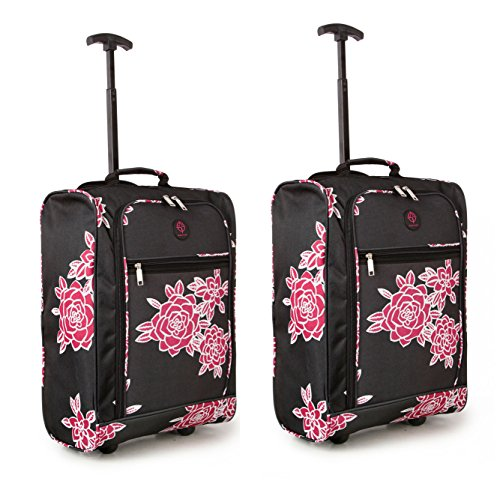 Compass , Trolley nero Black/Pink Floral Bagaglio a mano