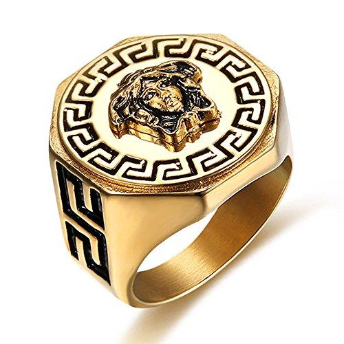 LANCHENEL Herren Überzug Kim Griechische Mythologie Medusa Titan Stahl Ringe,Größe,54(17.2)