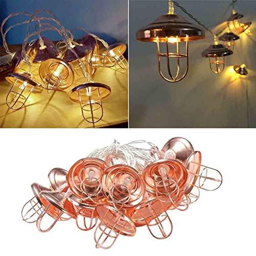 VNEIRW LED Lichterkette Retro Öllampe Batterie Vintage Roségold Glühbirne für Zimmer, Garten, Rasen, Balkon und Terrasse (3M 20LEDs)