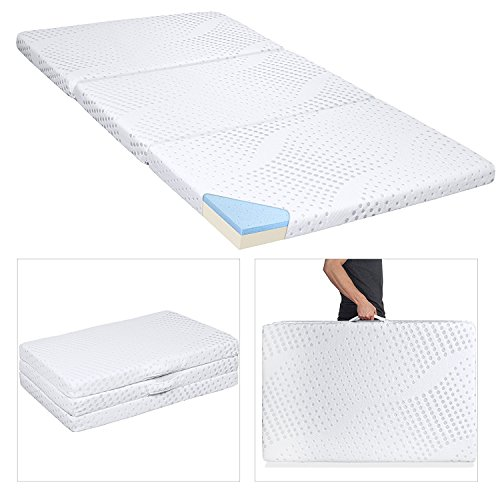 Best Choice Products Portable 3-inch Queen Size Tri-Folding Memory Foam Gel Mattress Topper w/Carrying Handle, Removable Cover - White