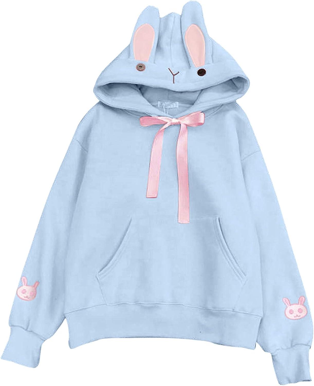 Cute Bunny Ear Hoodies Oversized Sweatshirts Long Sleeve Drawstring Drop Shoulder Loose Hooded Blouse Tops with Pocket
