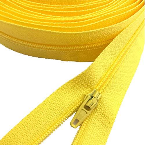 Cremalleras de nailon amarillo limón 3# por yarda con cierre automático de cremallera