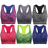 TOBWIZU Women Racerback Sports Bras -Removable Padded Seamless Med Support for Yoga Gym Workout Fitness Activewear Bra(XL)