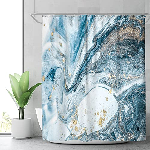 Riyidecor Blue Marble Shower Curtain for Bathroom Art Decor Abstract Blue Geomatric Stripe Luxury Textured Swirls Ripples Ocean Natural Waterproof Fabric 12 Pack Plastic Hooks 72Wx72H Inch