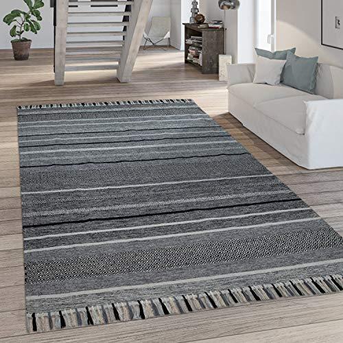 Paco Home Teppich Wohnzimmer Moderne Streifen Optik Mit Fransen Baumwolle Webteppich Grau, Grösse:160x220 cm