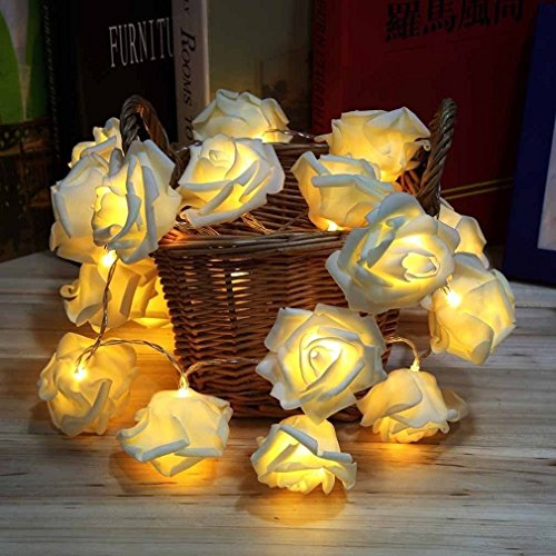 20 Led Rose Flower Fairy Light Battery Operated Decorative String Lamp for Christmas Valentine's Day Wedding Garden Bedroom Decoration (Warm White)