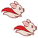 Cute Iron On Clothing Patches, Flying Pig with Red Superhero Cape Embroidered Sew On Appliques Decorative Patches for Clothing Jeans Backpacks Hats Shirts, 2PCS