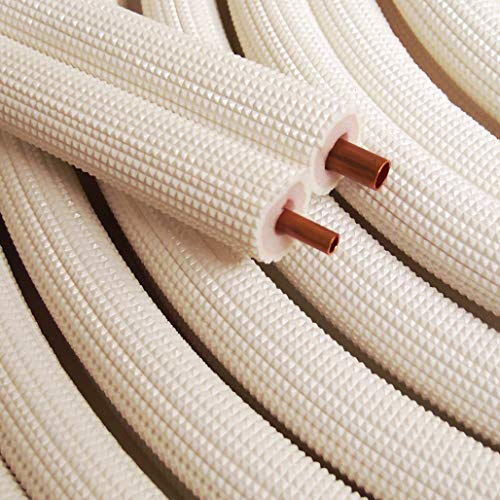 "1/4"" - 3/8"" Insulated Copper Coil Line Set - Seamless Pipe Tube for HVAC, Refrigerant - 1/2"" White Insulation EZ Twin Set - 50' Long"