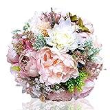 FLOWERSMY Novia Ramo de Boda Novia Sosteniendo Flores/Peonía Europea Ramo de Mano, 01
