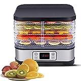 Deshidratador de Alimentos 400W, Deshidratadora de Frutas con 5 Bandejas Altura Regulable, Pantalla LCD,Emporizador y Temperatura Regulable Deshidratador de Frutas, Vegetales, Carne, Sin BPA