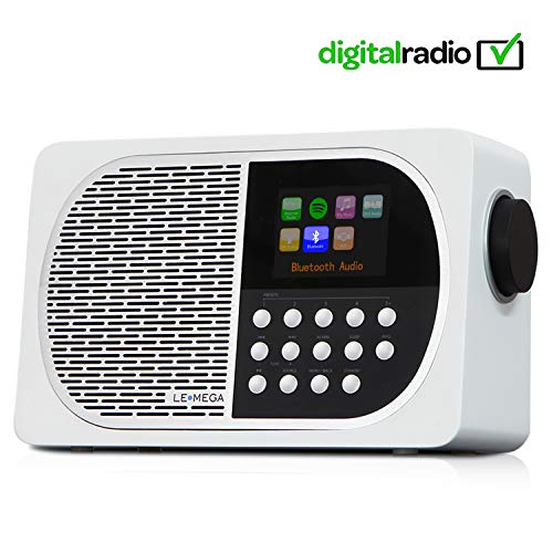 LEMEGA M2+ 7W Portable Internet Dab+ & FM Digital Radio with Wi-Fi, Bluetooth, USB, Aux & TFT Colour Display –Blanco Satinado