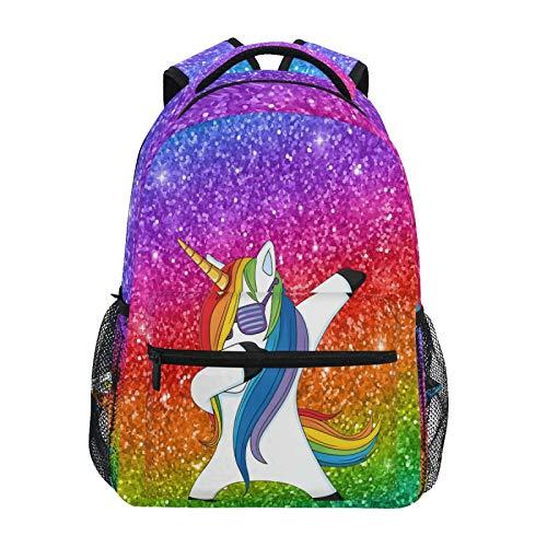 OOWOW School Backpack Funny Animal Unicorn Dab Daypack Lightweight Waterproof College Laptop Backpack Elementary School Shoulder Bag Large Bookbag for Women Men Kids Teens