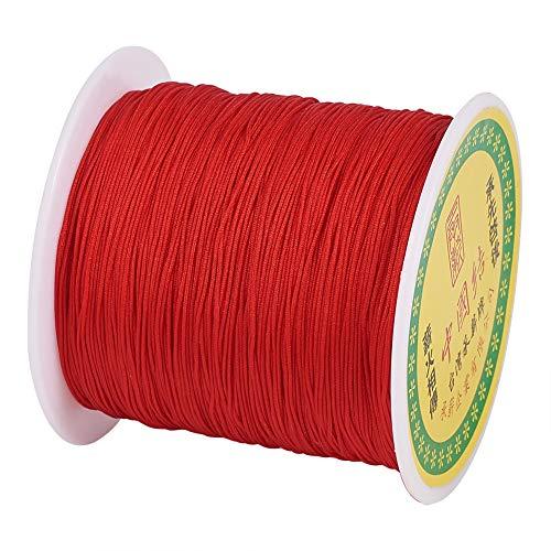 Cheriswelry - Cuerda de nailon trenzado para hacer pulseras de macramé rosso