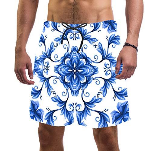 Pantalones cortos de playa de surf para hombre, de secado rápido, con bolsillo abstracto floral