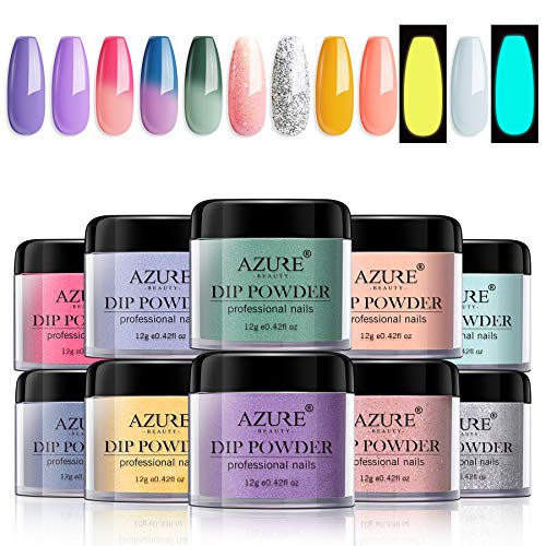 Dipping Nail Powder Set with 10 Colors Including 3 Changing and 2 Fluorescent Dip Powders Nails Set for French Nail Manicure Nail Art No Nail Lamp Needed