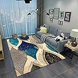 AU-SHTANG Alfombra bebé Alfombra Azul Tradicional para Arrastrar alfombras, Resistente al Desgaste, fácil de cuidar, fácil de aspirar Alfombra Alfombra Antideslizante ba?era -Azul_El 120x180cm