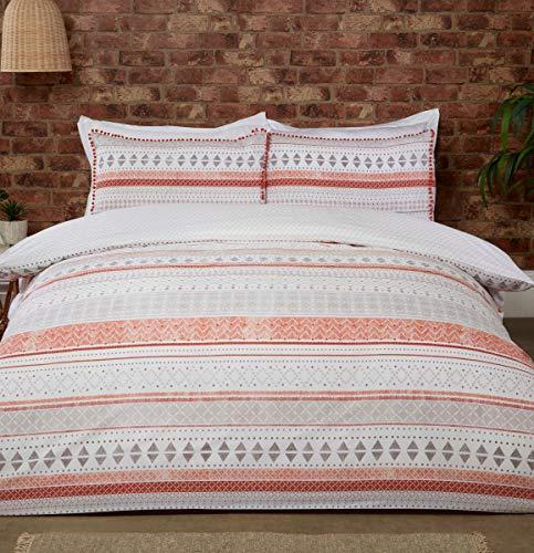 Sleepdown Juego edredón y Fundas de Almohada (220 x 230 cm), diseño de Rayas Aztecas, Color, Polialgodón, Naranja Terracota Natural, Matrimonio