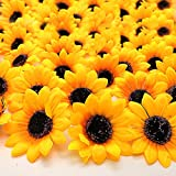 Grunyia 100pcs Artificial Sunflower Heads Silk Yellow 2.8 Inch