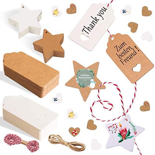 Alintor 100 Stern Geschenkanhänger Kraftpapier, Weihnachten Kraftpapier mit Herz, Etiketten für Namenskarten Hochzeit Geburtstag Grußkarten DIY Tags Hochzeit Geschenke zum Basteln Valentinstag