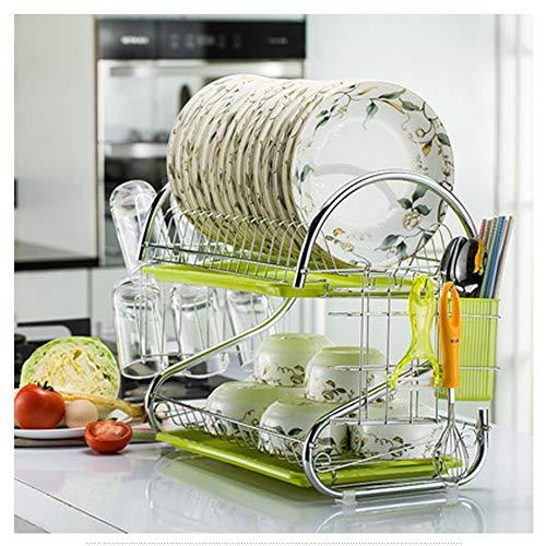Baiyiq - Escurreplatos de doble drenaje, estante creativo de cocina en forma de S, color verde, Material, Color, L2