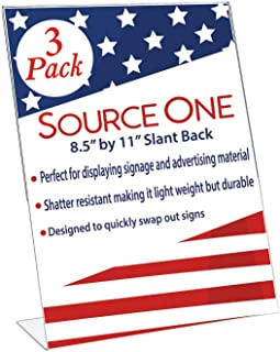 Best Value 8.5 x 11 Inches Thick Acrylic Slant Back Sign Holder Ad Frame Picture Frame, Clear Acrylic Perfect for Trade Shows, Museums, Retail Store (3 Pack)