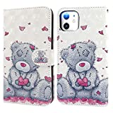 iPhone 11 Case, Ailisi 3D visual Cute Love heart Teddy bear Leather wallet flip case magnetic protective cover with shockproof TPU, Stand function Card Slots +1 pcs Lanyard Strap