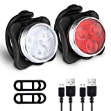 Defurhome Bike Light Set, Super Bright USB Rechargeable Bicycle Lights, 4 Brightness Modes Options Cycling Front Light & Rear Light, Waterproof Mountain Road Bike Lights(2 Cables, 4 Straps)