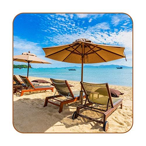 Bennigiry Hermosa Playa Tropical con Silla de sombrilla de Palmera de Coco Posavasos de Cuero Taza de café Cuadrada Taza de Vidrio Manteles Individuales Tapetes para Tazas Manteles Individuales 6 PCS