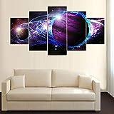 AWER Mural Foto Planet Ring Stars Galaxy Space 5 Stück Leinwand Bilder Wandbild modern Wandbilder Design Wand Bild fünf Teile Modulare Bilder Wanddekoration 5 Teilig