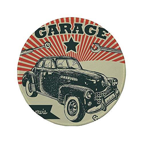 Rutschfreies Gummi-Rundmaus-Pad Autos Retro-Auto und Garage Werbeplakat-Stil Bild mit Grunge-Effekten 1960er-Jahre-Thema Grau-Beige 7.9