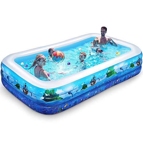iBaseToy Aufblasbarer Pool für Kinder, 300*175*56CM aufblasbarer Blow Up Kiddie Pool für Kleinkinder Erwachsene, große Familien-Swimmingpools für den Garten Garten Gartenparty im Freien, ab 3 Jahren