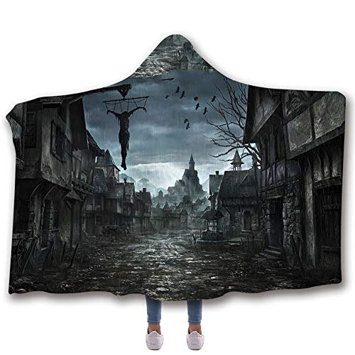 Manta con capucha Manta de Halloween Manta de impresión digital en 3D Manta de terciopelo ártico Capa gruesa doble cálida y suave para desvanecerse,E,130 * 150cm