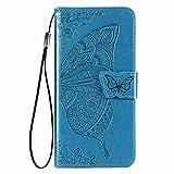 KERUN Hülle für vivo Y72 5G Flip Lederhülle, 3D Schmetterling Geprägte Prägung Handyhülle, Premium Leder Brieftasche Handytasche Schutzhülle mit Kartenfach Standfunktion.Blau