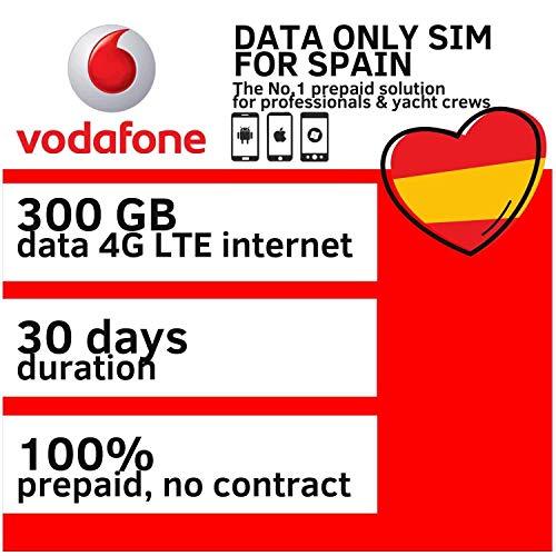 Vodafone 300GB Daten SIM Karte Prepaid Für Spanien 4G und LTE Highspeed Mobile Internet Datensimkarte SIM-Karte gültig für 30 Tage ab Aktivierung und geliefert als mini, mirco und nano SIM