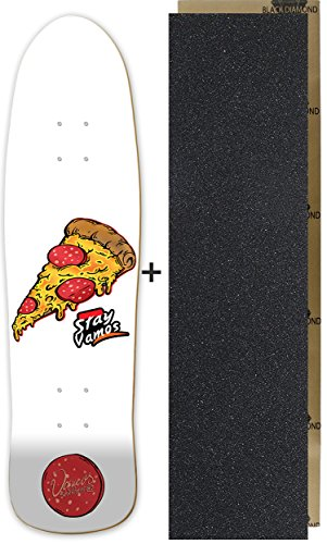 Vamos Skateboards | Old School Skateboard Deck | Fish Shape | Pizza Design | 100% Canadian Maple | mit Griptape