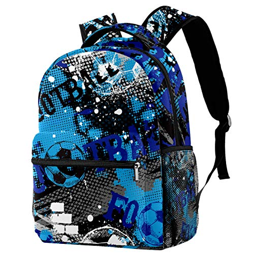 Sports Backpack Gym Bags with Shoe Compartment Wet Pocket Travel Backpacks Anti-Theft Pocket Water Resistant Workout Bag (Colorful)Watercolor Ink Blue Black White Football