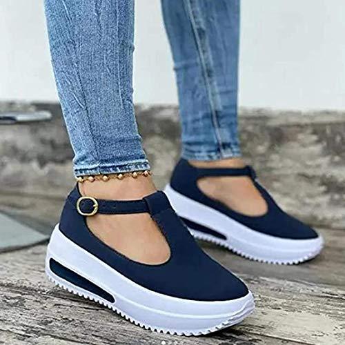 GAOXQ Plataforma De Cuña De Mujer Plata De Hebilla Sandalias Sandalias Damas Primavera Retro Cabeza Redonda Mocasines para Mujeres Bajo Superior Tacón Shoes Zapatos Hebill blue-36