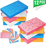 Multi-Use Cellulose Compressed Sponges, Scratch-Free Cleaning Scrub Sponges for Face Scrub, Dishwashing, Kitchen, Bathroom, DIY Crafts and More (12 Pack - 1)