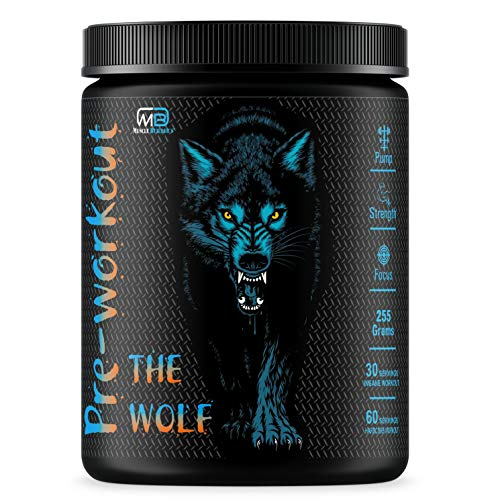 M B Muscle Builder's The Wolf Pre Workout | Build Muscle | Burn Fat | Increase Strength & Performance | Enhance Focus | Reduce Fatigue | Hardcore Powerful Pre Workout Energy Stimulant [Gummy Candy]
